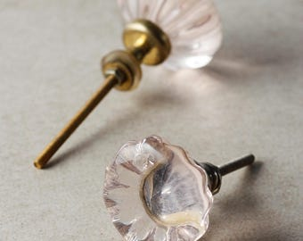 Glass Flowered Knob with Pink Diamond Cut Center (Sold in Set of 3)