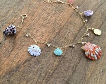 Custom Sunrise Shell Charm Bracelet