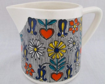 Goebel W. Germany Mid-Century Ceramic Creamer~ Hearts~Flowers~Mini Pitcher