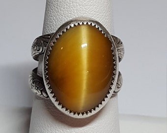 Tiger Eye  Ring Southwestern Navajo Sterling Silver