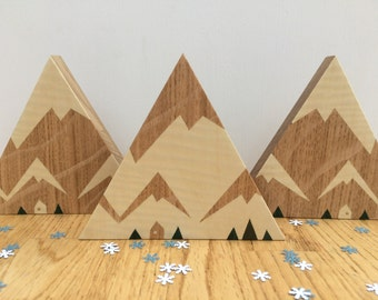 Snowy Mountain Wooden Ornament