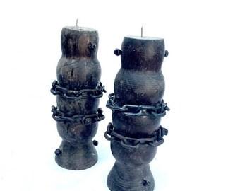 SALE Gothic candle sticks wood cast iron chain vintage rustic decor lighting