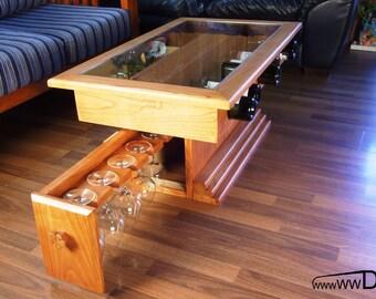 Wine desk-Digital PDF plan,Wooden Wine Desk,Storage for wine bottles and glasses,Wine holder plan, Desk for storing wine bottles and glasses