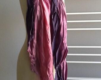 Pleated silk scarf, purple pink, 105