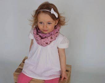 Infinity scarf - small pink flowers