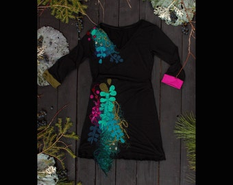 Robe ajustée-robe noire-vert-kaki-marine-rose-manche mi-longue-broderies-appliqué-party dress-jersey-black dress-kaki-pink-marine-V neck