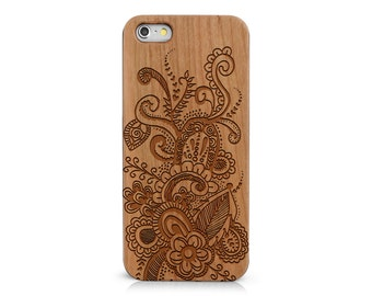 Wood Phone Case with Hand Drawn Doodle Inspired Floral Leafy Paisley Plumeria Henna Laser Engraving for iPhone 5/S, 6/S and 6 plus IP-067