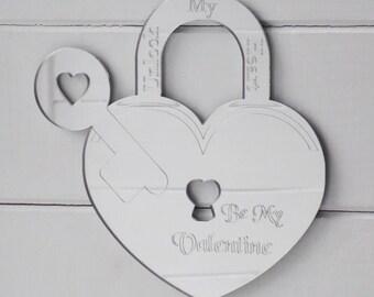 Be My Valentine Heart Padlock & Key Acrylic Mirror