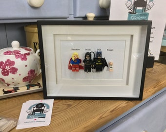 Superhero Family Batman Superman Supergirl Robin BatBaby SuperBaby Personalised Lego replica frame great Blended family gift or Mother's Day