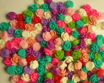 20/ 50/ 100  x Mixed Assorted Colours Flat Back Rose Flower 10mm Resin/ Acrylic Cabochons 2