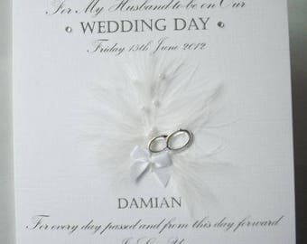To my husband or wife on our wedding day Personalised Card