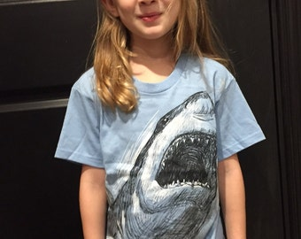 SHARK Tee - BLUE - Kid's Illustration Tee - Animal Art - Holiday Gift - David Colman Original