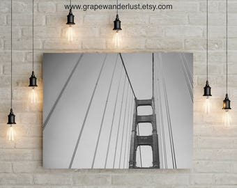 Golden Gate Bridge, San Francisco Photo, Golden Gate Print, Golden Gate Print Black & White, Bridge Print, San Francisco City Wall Art