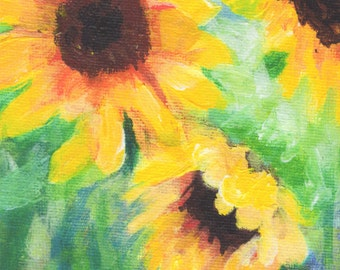 Three Sunflowers Acrylic Painting Print