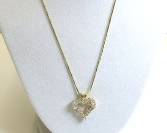 heart diamond pendant necklace over one carat in yellow gold