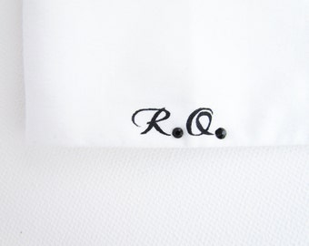 Men's shirt with handpainted monogram with Swarowski crystals