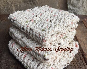 Crocheted Dishcloths - Oatmeal Variegated - 100% Cotton - Set of Three