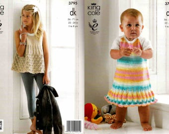 "King Cole Knitting Pattern 3795~Dress & Smock Top~DK~22-28"""