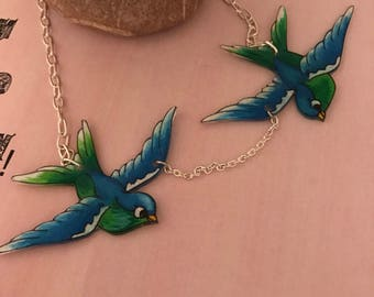Vintage style tattoo sparrow /bird /swallows necklace