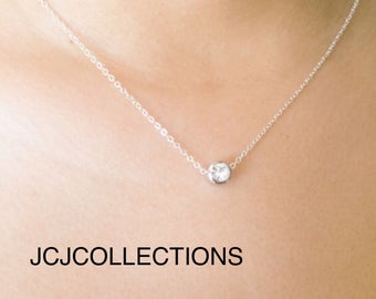 White Gold Floating Solitare Necklace, Austrian Crystal Pendant