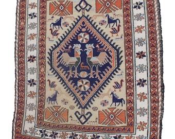 Vintage Persian Soumak Rug w/ Animal Motif / 4u00271