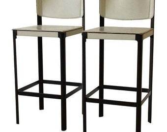 Pair of Mateo Grassi Sistina Italian Leather Bar Stools
