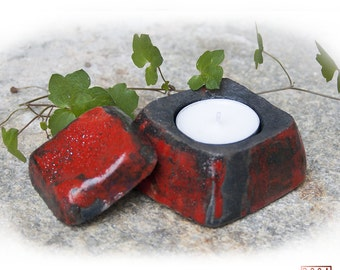 "Candle set ""ROCCA # 03, red, raku ceramics, gifts for him and her, anniversary, inauguration, made in Italy, handmade"