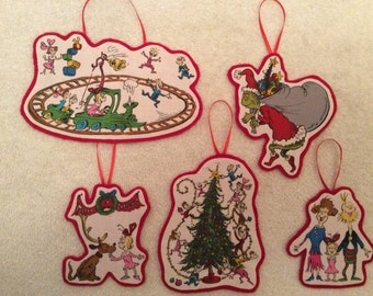 How the Grinch Stole Christmas Ornaments!! Set of 5