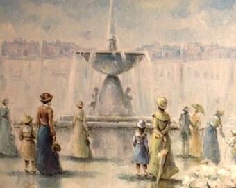 "Stunning Original Claude Rishell Oil on Canvas ""Fountain Gathering"""