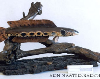 Wooden sculptures of fish. African SNAKEHEAD. 45 cm. Hand-carved. 3D. The fish. Thread. Taxidermy.