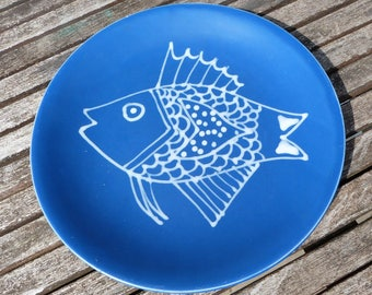 French Blue Fish decorative plate.