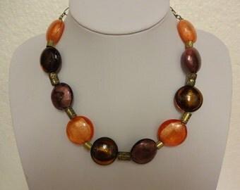 Vintage Murano Foil Glass Necklace, Venetian Glass Necklace, Italian Glass Necklace, Brown Orange Amber Necklace