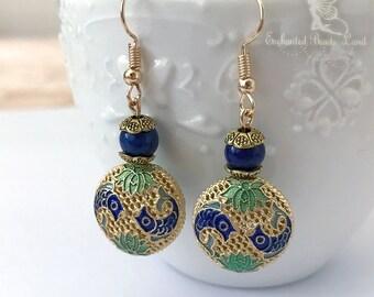 Blue & Gold Filigree Enamel Beads Blue Lapis Lazuli Hook Earrings Dangel Earrings Drop Earrings