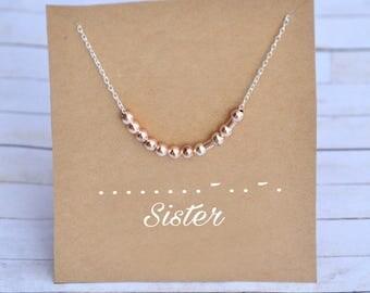 Sister necklace, morse code necklace, best friend necklace, custom morse code, personalized, morse code sister necklace, secret message