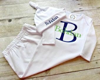 Coming Home Gown, Coming Home Outfit,Boys, Infants,Baby Gown, Embroidered, Monogrammed, with Embroidered hat, with Monogrammed Bib,Baby Gift