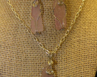 Pink Frosted sea glass wire wrapped pendant necklace and dangle earring set
