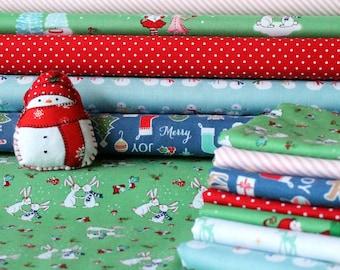Riley Blake Christmas Fabric Fat Quarter Bundle (7 Fat Quarters)
