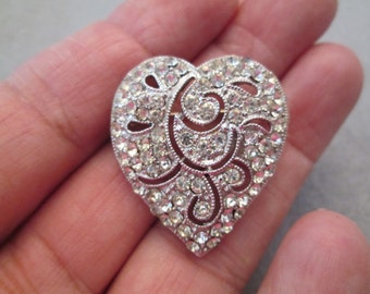 Sparkling Hedy Rhinestone HEART Brooch/Pin>> New old stock, never worn>> in Original box