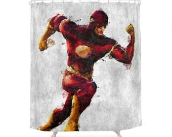Flash Shower Curtain, Hero Character, DC Comics, Geek Bathroom,  Illustration Curtains,