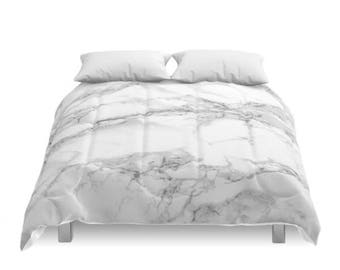 Marble Comforter, White Stone, Grey Pattern, Gray Minimal Bedding, Modern Design, Chic Room, Traditional, Classic Photo, Full, Queen, King
