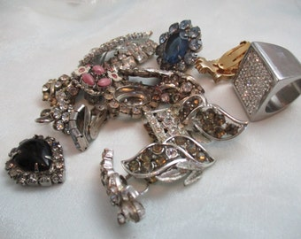 Costume Jewelry Repair , 17 Pieces, Bag of Assorted Silver Tone Metal and  Multicolored Rhinestones