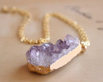 Purple Natural Amethyst Druzy Raw Cut Necklace 24 Carat Gold