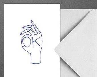 Postkarte OK / Hand, in Ordnung, Karte, Grusskarte, Briefumschlag, Geschenk, Botschaft, Brief