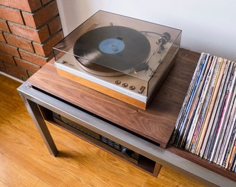 Hudson Record Player Table with Vinyl Storage Bin