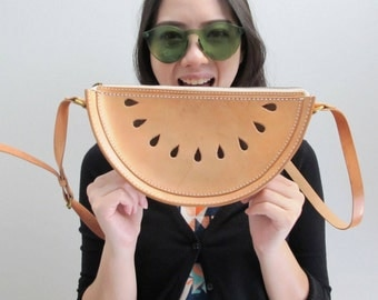 Watermelon Cross Body Bag / Watermelon Veg Tan Leather Spring Purse / Hand Stitched Shoulder Bag / Handmade Women's Bag