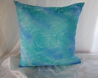 Original hand painted silk cushion cover 'Ocean'