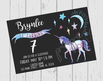 Birthday Night Unicorn Customized Printable Invitation