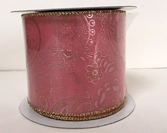 """2 1/2"""" Pink Paisley Sparkle Ribbon - WE - 10YDS -- CLEARANCE!!!! - 5 Rolls Left!!"""