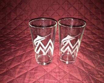 2 Hand Etched Miami Marlins Pint Glasses!