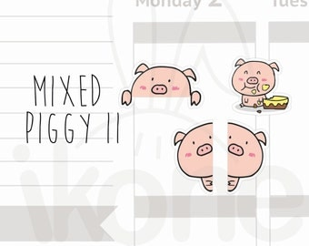 30 Cute Pig Stickers for planner - hide and seek kawaii piggy sticker sheet - A007